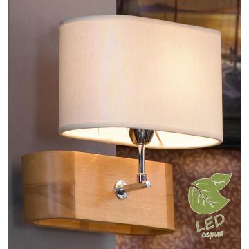 Бра Lussole Loft Nulvi GRLSF-2111-01, IP21, 1xE27x10W, коричневый, белый, дерево, текстиль