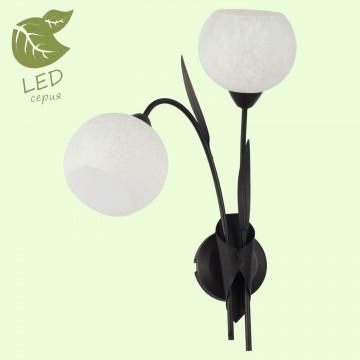 Бра Lussole Loft Bagheria GRLSF-6291-02, IP21, 2xE14x6W, коричневый, белый, металл, стекло