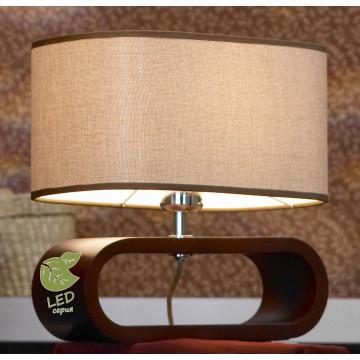 Настольная лампа Lussole Loft Nulvi GRLSF-2104-01, IP21, 1xE27x10W, коричневый, бежевый, дерево, текстиль