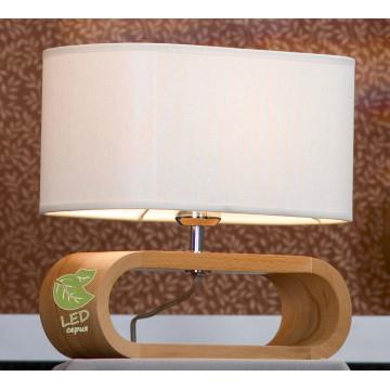 Настольная лампа Lussole Loft Nulvi GRLSF-2114-01, IP21, 1xE27x10W, коричневый, белый, дерево, текстиль