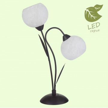 Настольная лампа Lussole Loft Bagheria GRLSF-6294-02, IP21, 2xE14x6W, коричневый, белый, металл, стекло