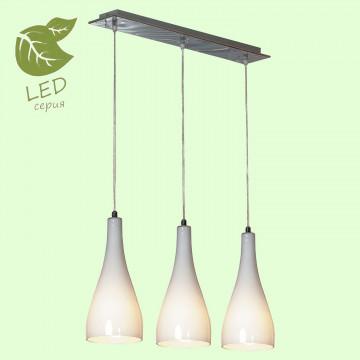 Подвесной светильник Lussole Loft Rimini GRLSF-1106-03, IP21, 3xE27x10W, хром, белый, металл, стекло