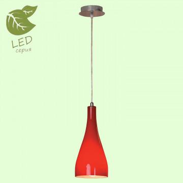 Подвесной светильник Lussole Loft Rimini GRLSF-1156-01, IP21, 1xE27x10W, хром, красный, металл, стекло