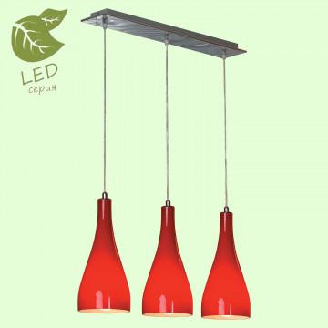 Подвесной светильник Lussole Loft Rimini GRLSF-1156-03, IP21, 3xE27x10W, хром, красный, металл, стекло