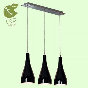 Подвесной светильник Lussole Loft Rimini GRLSF-1196-03, IP21, 3xE27x10W, хром, черный, металл, стекло