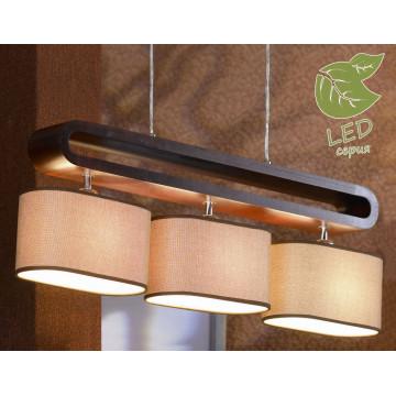 Подвесной светильник Lussole Loft Nulvi GRLSF-2103-03, IP21, 3xE27x10W, коричневый, бежевый, дерево, текстиль