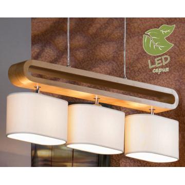 Подвесной светильник Lussole Loft Nulvi GRLSF-2113-03, IP21, 3xE27x10W, коричневый, белый, дерево, текстиль