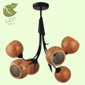 Потолочная люстра Lussole Loft Bagheria GRLSF-6203-06, IP21, 6xE14x7W, коричневый, оранжевый, металл, стекло