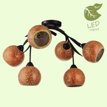 Потолочная люстра Lussole Loft Bagheria GRLSF-6213-06, IP21, 6xE14x7W, коричневый, оранжевый, металл, стекло