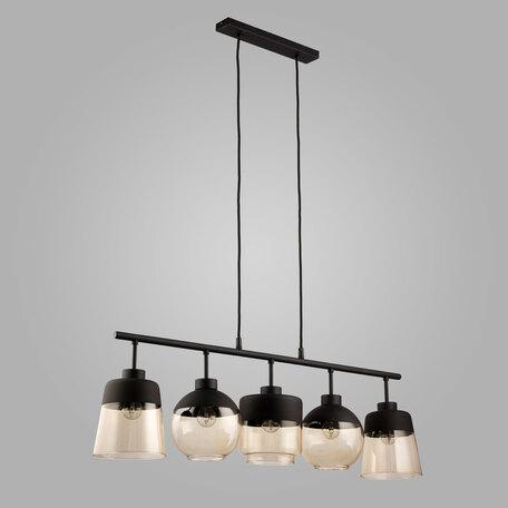 Подвесной светильник TK Lighting 2382 Amber, 5xE27x60W, черный, янтарь, металл, стекло