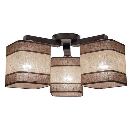 Потолочная люстра TK Lighting 1929 Nadia 3, 3xE27x60W, коричневый, дерево, текстиль