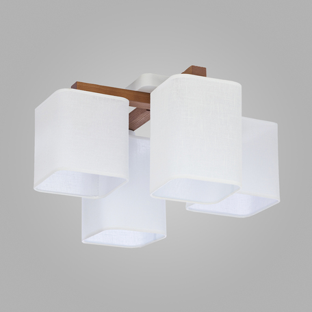 Потолочная люстра TK Lighting 4163 Tora White, 4xE27x60W, белый, коричневый, дерево, текстиль