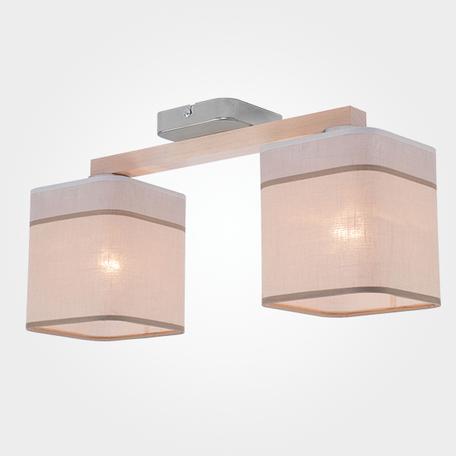 Потолочный светильник TK Lighting 1917 Nadia White 2, 2xE27x60W, коричневый, бежевый, металл, текстиль