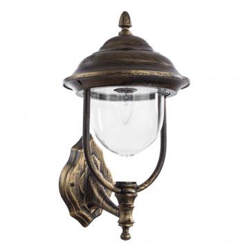 Настенный фонарь Arte Lamp Barcelona A1481AL-1BN, IP44, 1xE27x75W, черный с золотой патиной, прозрачный, металл, металл со стеклом/пластиком