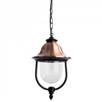 Подвесной светильник Arte Lamp Barcelona A1485SO-1BK, IP44, 1xE27x75W, черный, медь, прозрачный, металл, металл с пластиком