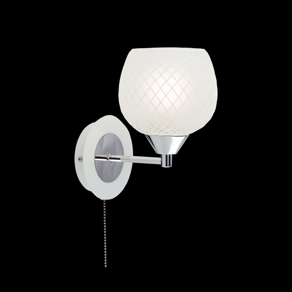 Бра Citilux Сюзи CL171311, 1xE27x75W, белый, хром, металл, стекло, текстиль - фото 2