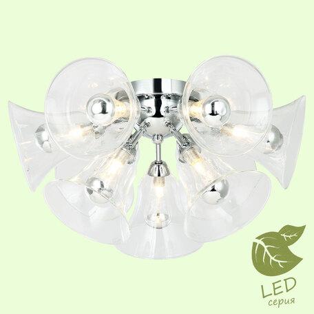 Потолочная люстра Lussole Loft Oneida GRLSP-8196, IP21, 9xG9x5W, хром, прозрачный, металл, стекло
