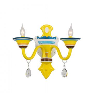 Бра ST Luce Tirapiedi SL819.781.02, 2xE14x40W, желтый, синий, разноцветный, прозрачный, металл, стекло