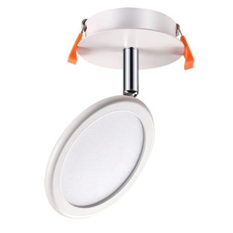 Встраиваемый светодиодный светильник с регулировкой направления света Novotech Spot Solo 357454, LED 8W 3000K 680lm, белый, металл, металл с пластиком, пластик