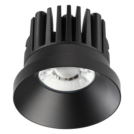 Встраиваемый светодиодный светильник Novotech Metis 357586, IP44, LED 10W 3000K 800lm, черный, металл