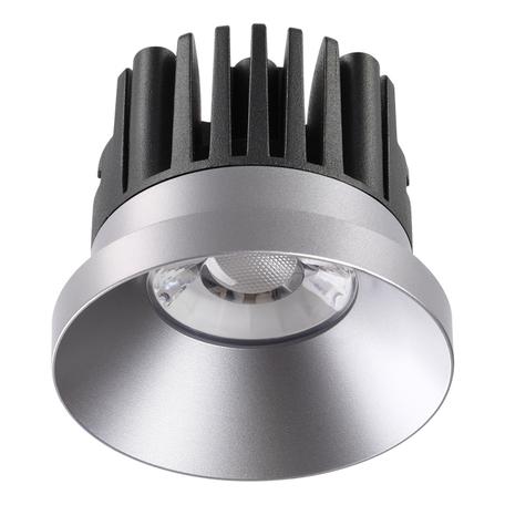 Встраиваемый светодиодный светильник Novotech Spot Metis 357587, IP44, LED 10W 3000K 800lm, серебро, металл