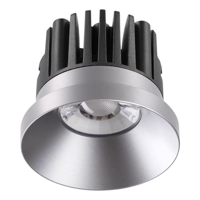 Встраиваемый светодиодный светильник Novotech Metis 357587, IP44, LED 10W 3000K 800lm, серебро, металл - фото 1