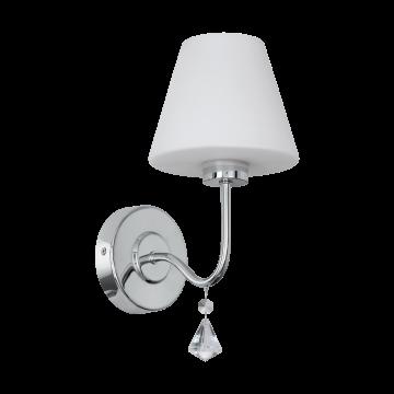 Настенный светильник Eglo Loretto 97609, IP44, 1xG9x3W, хром, белый, прозрачный, металл, стекло, хрусталь