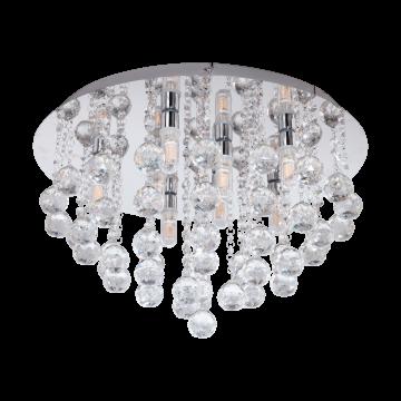 Потолочный светильник Eglo Almonte 97699, IP44, 8xG9x3W, хром, прозрачный, металл, хрусталь