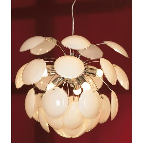 Подвесная люстра Lussole Loft Mattina LSQ-4313-06, IP21, 6xE27x60W, хром, белый, металл, стекло