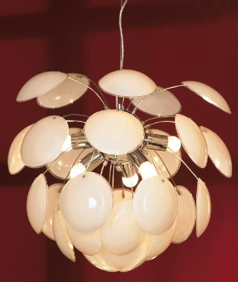 Подвесная люстра Lussole Loft Mattina LSQ-4313-06, IP21, 6xE27x60W, хром, белый, металл, стекло - фото 1