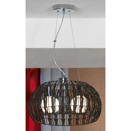 Подвесной светильник Lussole Fenigli LSX-4173-02, IP21, 2xE27x60W, хром, коричневый, металл, пластик