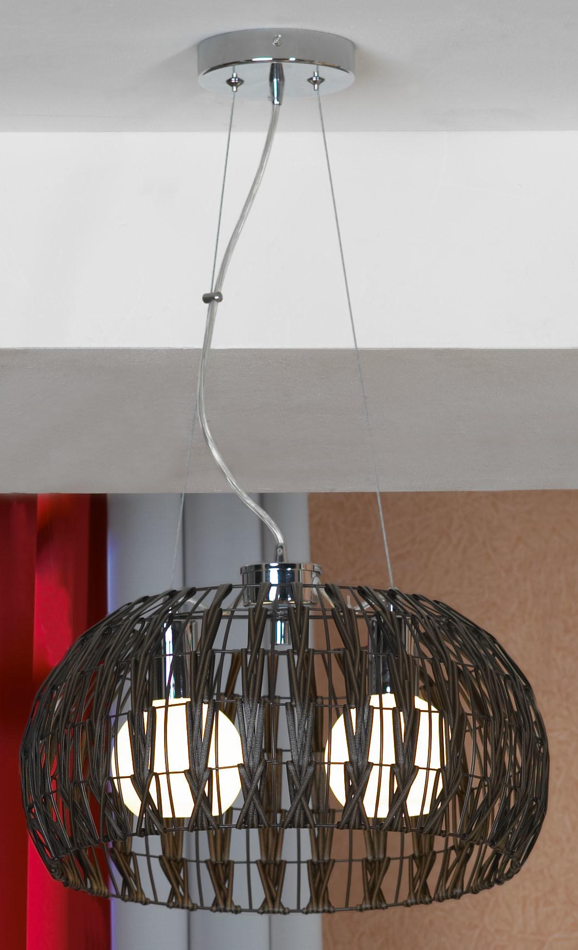 Подвесной светильник Lussole Fenigli LSX-4173-02, IP21, 2xE27x60W, хром, коричневый, металл, пластик - фото 1
