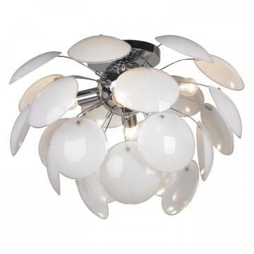 Потолочная люстра Lussole Loft Mattina LSQ-4303-04, IP21, 4xE27x60W, хром, белый, металл, стекло