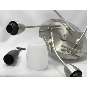 Потолочная люстра Lussole Cevedale LSQ-6907-05, IP21, 5xE14x40W, никель, белый, металл, стекло - миниатюра 2