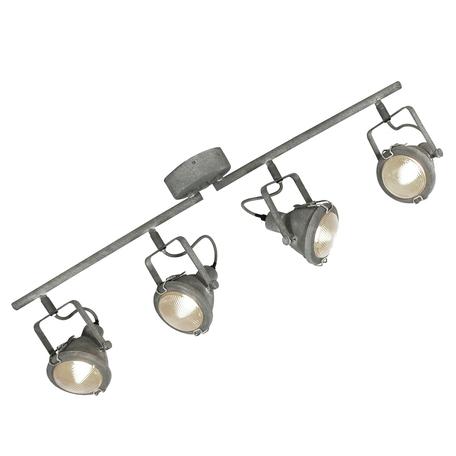 Потолочный светильник с регулировкой направления света Lussole Loft Brentwood LSP-9882, IP21, 4xE14x40W, серый, прозрачный, металл, стекло
