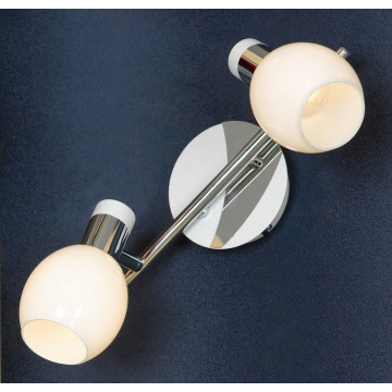 Потолочный светильник с регулировкой направления света Lussole Loft Parma LSX-5001-02, IP21, 2xE14x40W, белый, хром, металл, стекло - миниатюра 1