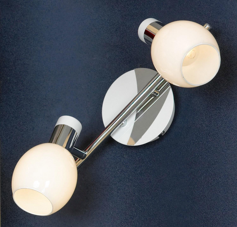 Потолочный светильник с регулировкой направления света Lussole Loft Parma LSX-5001-02, IP21, 2xE14x40W, белый, хром, металл, стекло - фото 1
