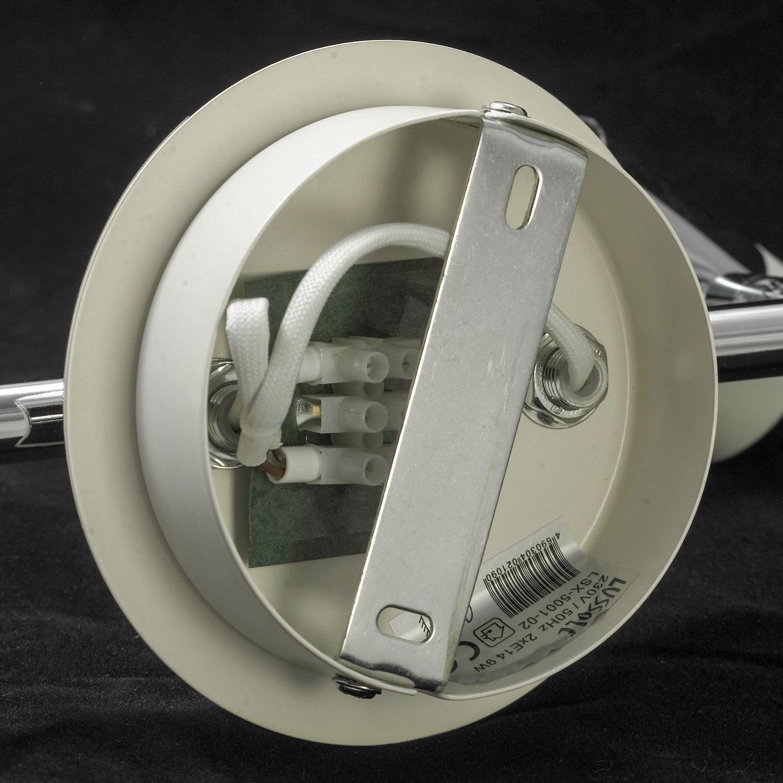 Потолочный светильник с регулировкой направления света Lussole Loft Parma LSX-5001-02, IP21, 2xE14x40W, белый, хром, металл, стекло - фото 5