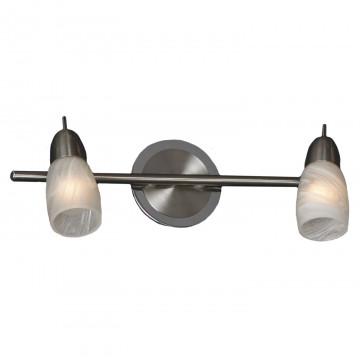 Потолочный светильник с регулировкой направления света Lussole Cevedale LSQ-6901-02, IP21, 2xE14x40W, никель, белый, металл, стекло