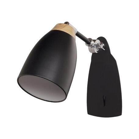 Бра Loft It Watchman LOFT4402W-BL, 1xE27x60W, черный с хромом, черный с коричневым, металл, металл с деревом