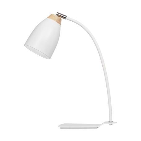 Настольная лампа Loft It Watchman LOFT4402T-WH, 1xE27x60W, белый с хромом, белый с коричневым, металл, металл с деревом