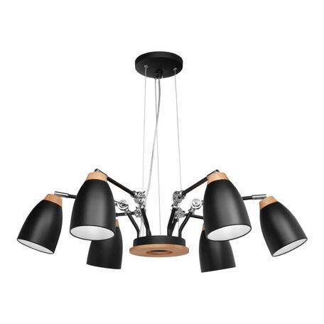 Подвесная люстра Loft It Watchman LOFT4402/6BL, 6xE27x60W, черный с коричневым, металл, металл с деревом