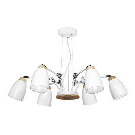 Подвесная люстра Loft It Watchman LOFT4402/6WH, 6xE27x60W, белый с коричневым, металл, металл с деревом