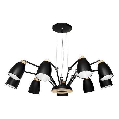 Подвесная люстра Loft It Watchman LOFT4402/9BL, 9xE27x60W, черный с коричневым, металл, металл с деревом