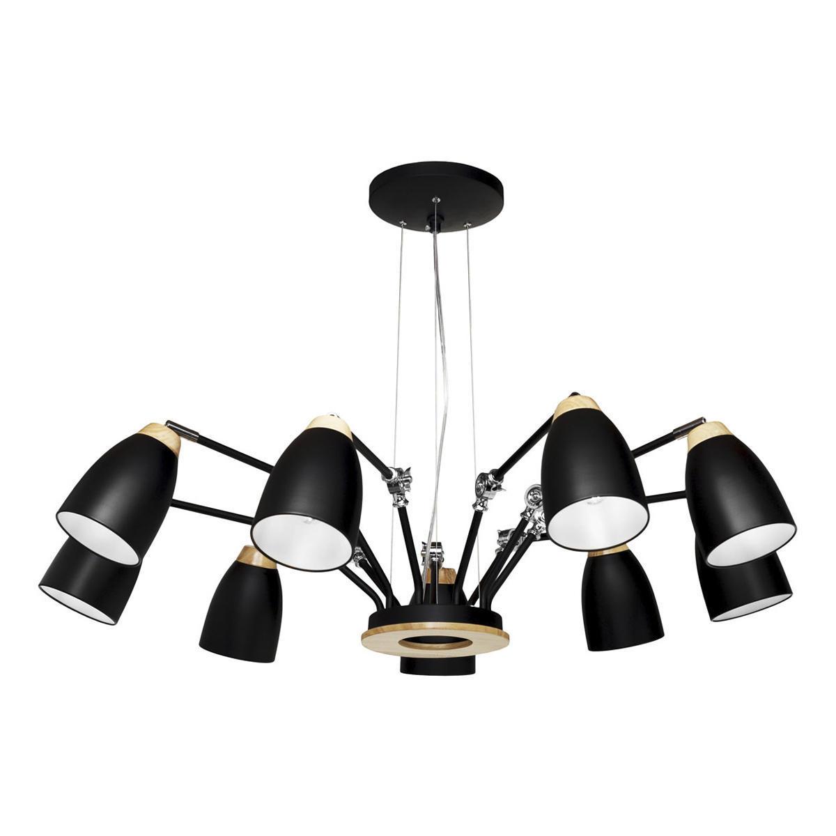Подвесная люстра с регулировкой направления света Loft It Watchman LOFT4402/9BL, 9xE27x60W, черный с коричневым, металл, металл с деревом - фото 1
