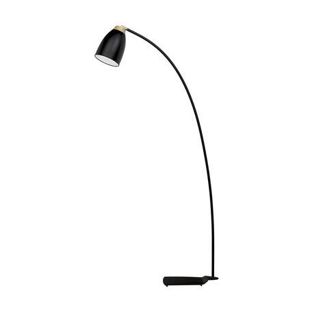 Торшер Loft It Watchman LOFT4402F-BL, 1xE27x60W, черный, черный с коричневым, металл, металл с деревом
