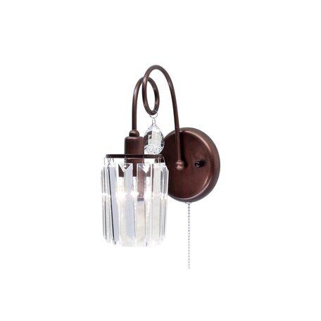 Бра Citilux Синди CL330313, 1xE14x60W, коричневый, прозрачный, металл, хрусталь