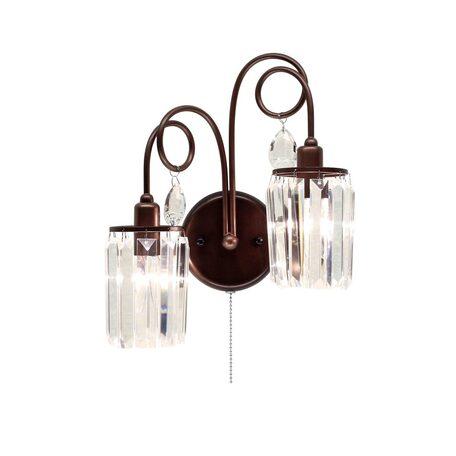 Бра Citilux Синди CL330323, 2xE14x60W, коричневый, прозрачный, металл, хрусталь