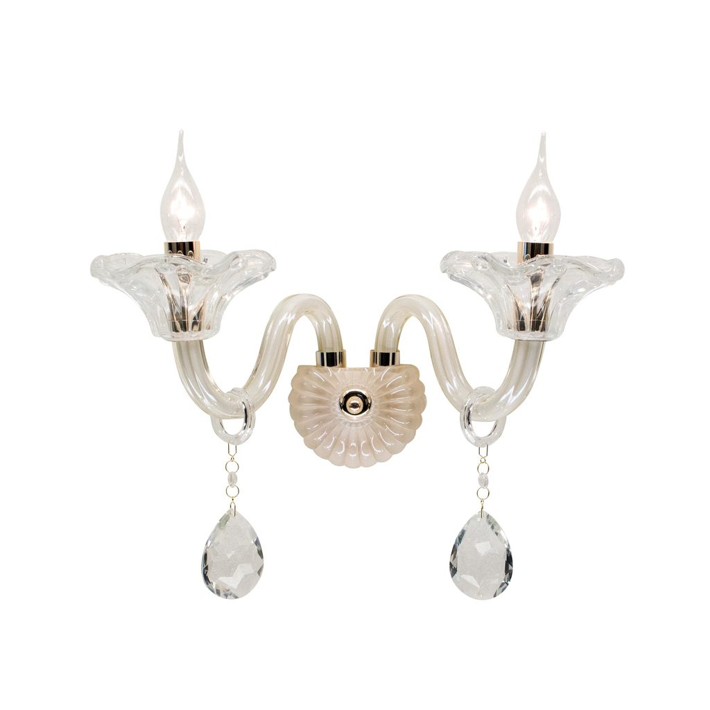 Бра Citilux Ирида CL351321, 2xE14x60W, золото, янтарь, прозрачный, металл, стекло, хрусталь - фото 1