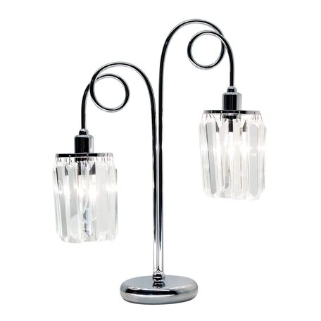 Настольная лампа Citilux Синди CL330821, 2xE14x60W, хром, прозрачный, металл, хрусталь